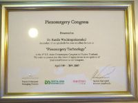 "OrthoSmile Dental Clinic Dr. Kasidis certificate of appreciation for excellent ""Piezosurgery Technol"