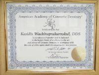 OrthoSmile Dental Clinic Dr. Kasidis American Academy of Cosmetic Dentistry membership certificate