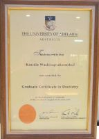 "OrthoSmile Dr. Kasidis The University of Adelaide Australia ""Graduate Certificate in Dentistry"" cert"