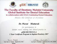 Dental 4 U Dr. Warut Muttaruk certificate #7