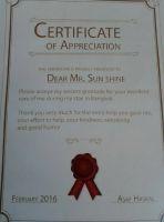 BFC Dental Bangna Branch - Bangkok - Certificate for Best Driver from Asaf  Haskal(Patient)