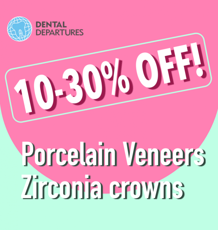 Get special price for Porcelain Veneers or Zirconia crowns.